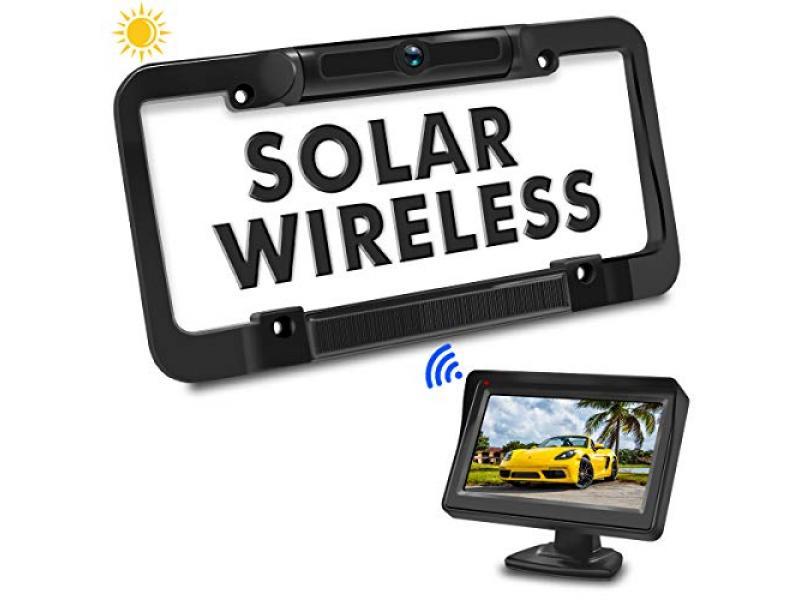 PORMIDO Solar Wireless Backup Camera License Plate with Monitor Kit