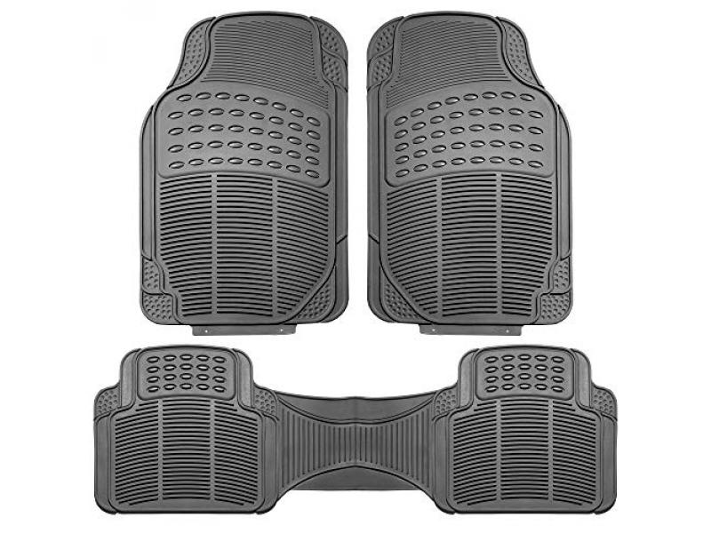 FH Group F11306GRAY Gray-Solid Trimmable Heavy Duty All Weather Floor Mats 3pc Full Set