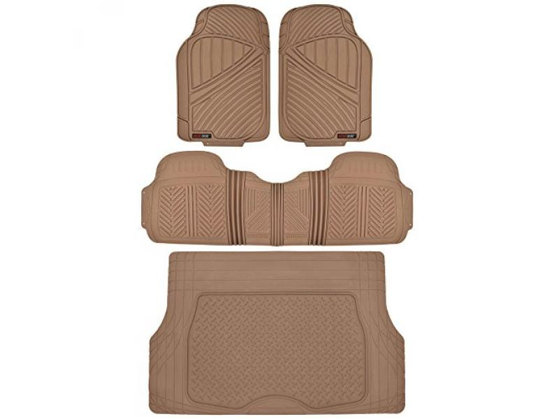 Motor Trend FlexTough Performance All Weather Rubber Car Floor Mats with Cargo Liner