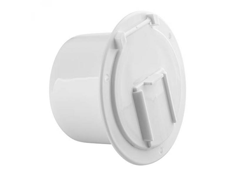Halotronics RV 4 3/4-inch Round Electrical Cable Hatch for 30 and 50 Amp Cords (White)