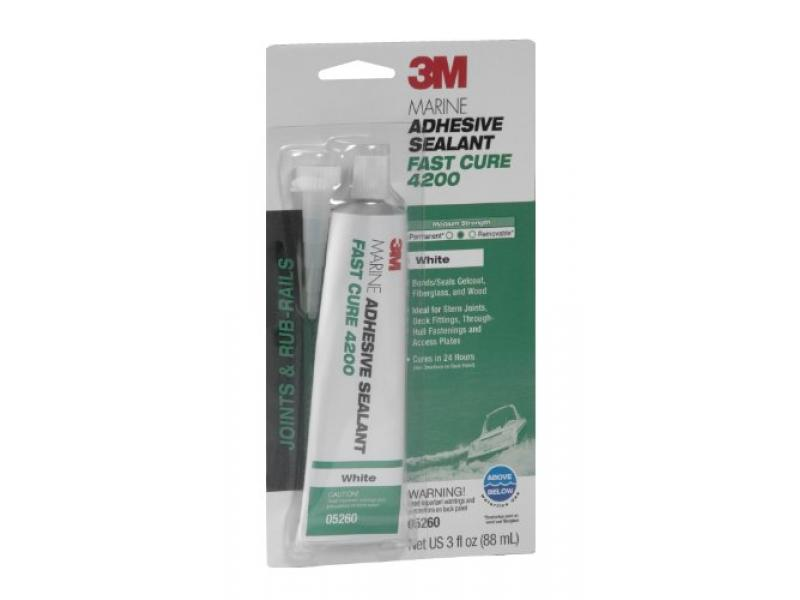 3M Marine Adhesive Sealant Fast Cure 4200 (05260) - Semi-Permanent - White - 3 Ounces