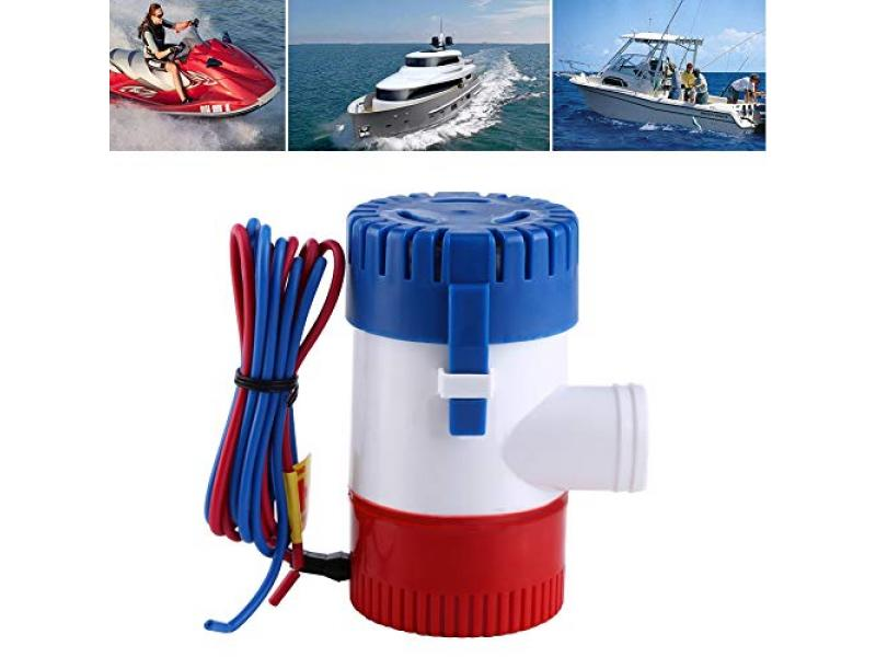 Cuque 12V 1100GPH Electric Submersible Sump Pump Diameter 3 cm / 1.2 Inches Built-in Marine Float Marine Water Bilge Pump Built-in Marine Float for Yacht Boat Switch