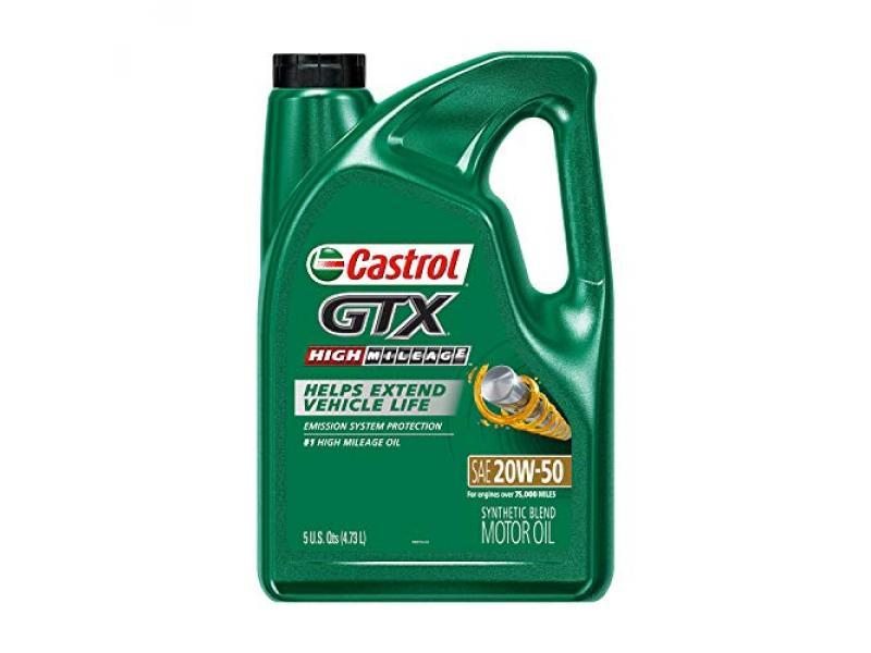 Castrol 03112 GTX High Mileage 20W-50 Motor Oil - 5 Quart