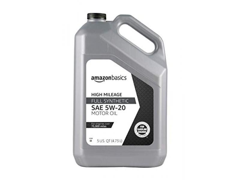 AmazonBasics High Mileage Motor Oil - Full Synthetic - 5W-20 - 5 Quart