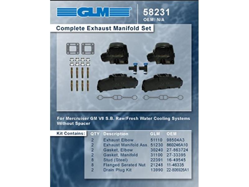 MERCRUISER COMPLETE EXHAUST MANIFOLD SET 5.0L & 5.7L (CAST IRON) | GLM Part Number: 58231