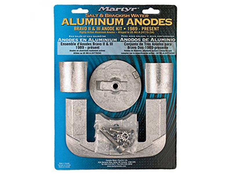 Martyr CMBRAVO23KITA Aluminum Alloy Merc Bravo 2&3 Mercury Anode Kit Aluminum Salt water