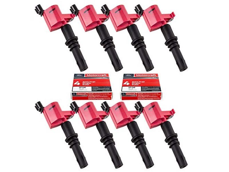 MAS Set of 8 Ignition Coils DG511 and Motorcraft SP515 SP546 Spark Plug