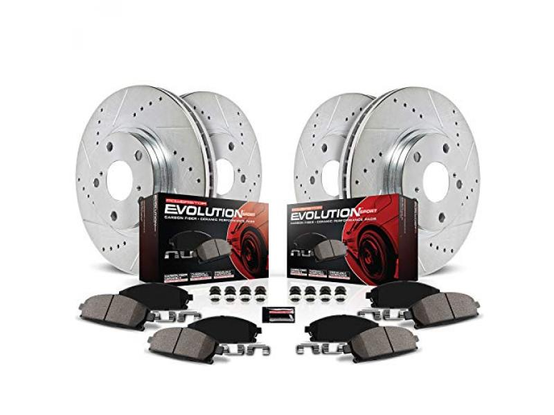 Power Stop K5584 Front and Rear Z23 Carbon Fiber Brake Pads with Drilled & Slotted Brake Rotors Kit