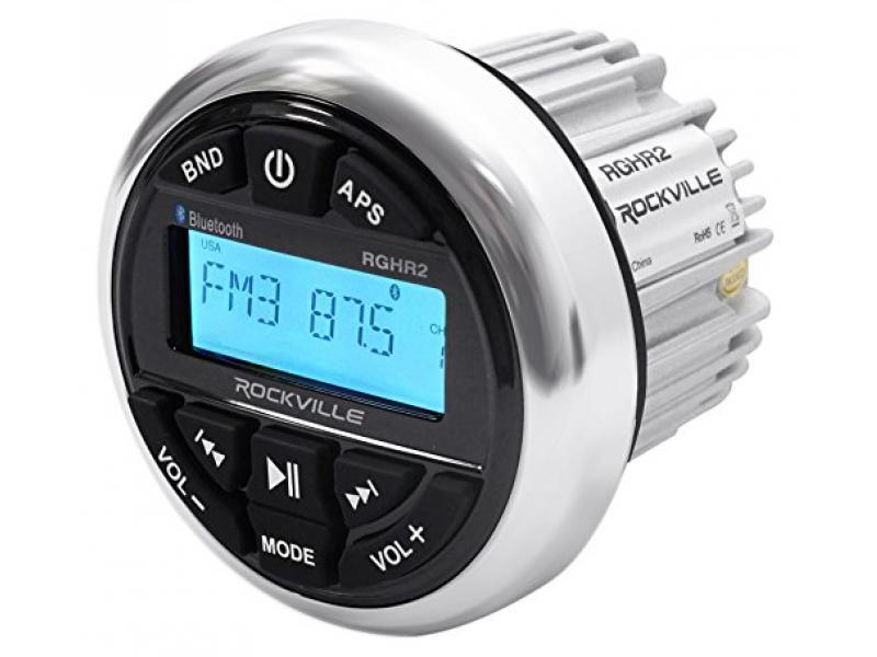 Rockville RGHR2 Marine Bluetooth Receiver, USB+Remote+(2) 8 Wakeboard Speakers