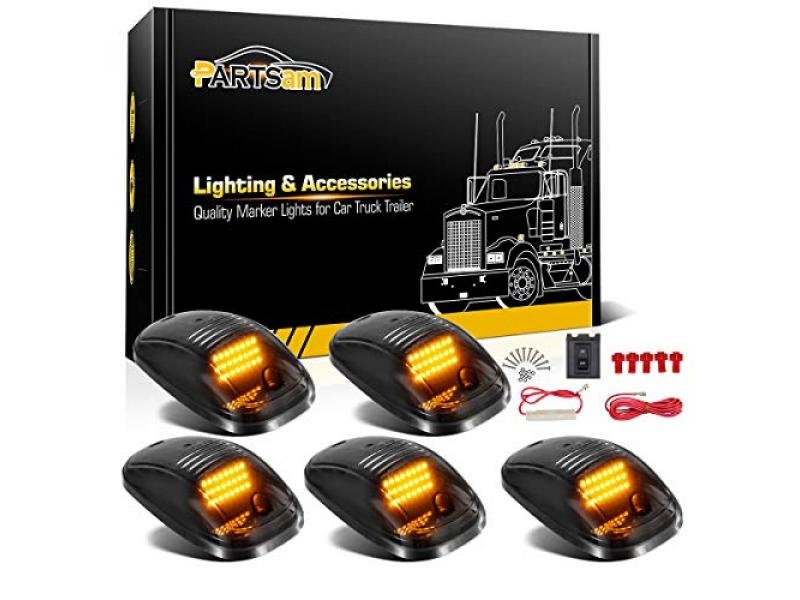 Partsam 5X Amber 24 LED Smoke Cab Roof Running Top Marker Lights