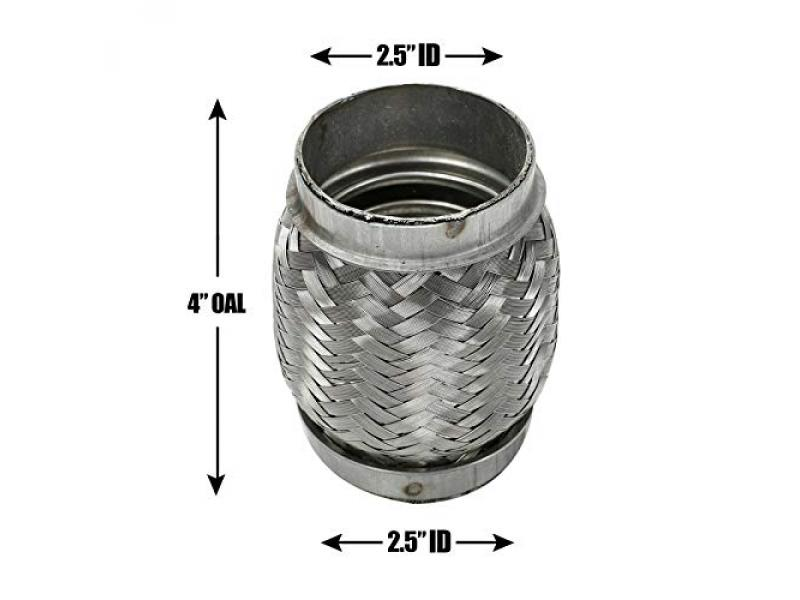 BLACKHORSE-RACING Universal Heavy Duty Stainless Steel Exhaust Flex Pipe Double Braid 2.5
