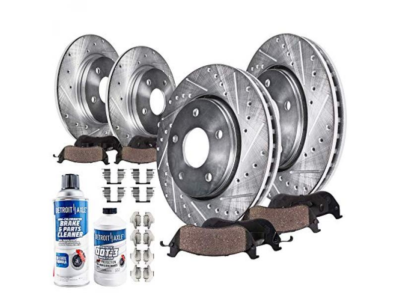 Detroit Axle - Front Rear Drilled Slotted Rotors + Brake Pads