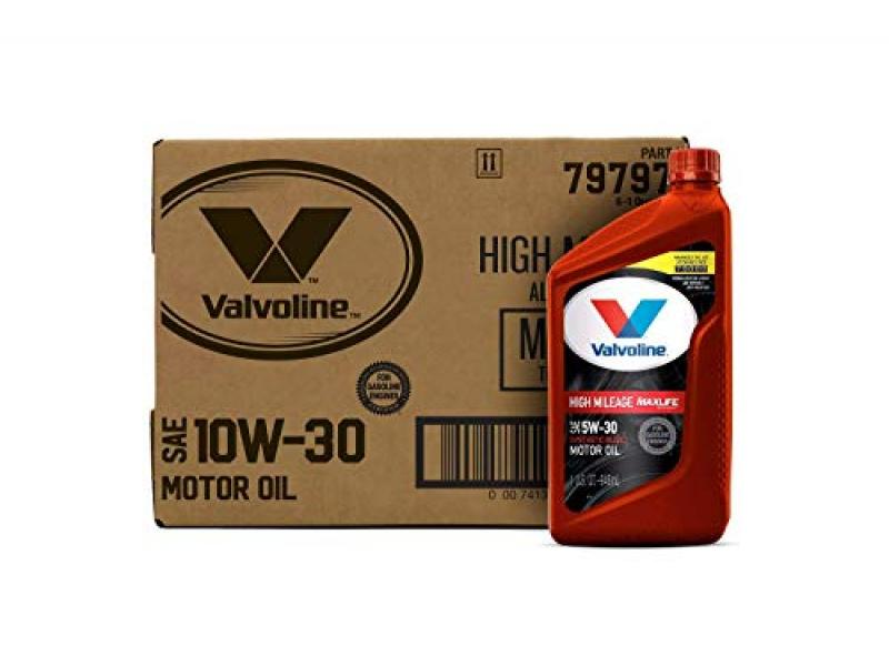 Valvoline High Mileage with MaxLife Technology SAE 10W-30 Synthetic Blend Motor Oil 1 QT, Case of 6