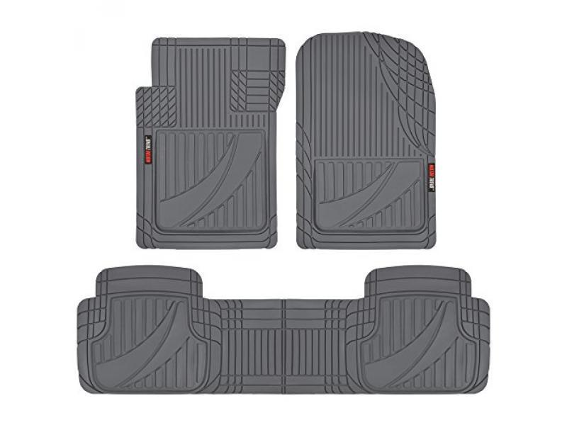 Motor Trend FlexTough Advanced Gray Rubber Floor Mats