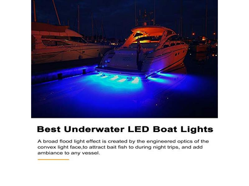 EEEKit 27 LED Underwater Pontoon Transom Lights, Marine Boat LED Navigation Lights, Stainless Steel Underwater Lights for Boat, IP68 Waterproof & Blue Light