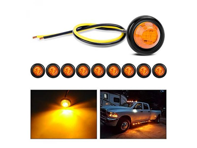 """Nilight TL-03 10 PCS 3/4"""" Round Clearance LED Front Rear Side Indicator"""