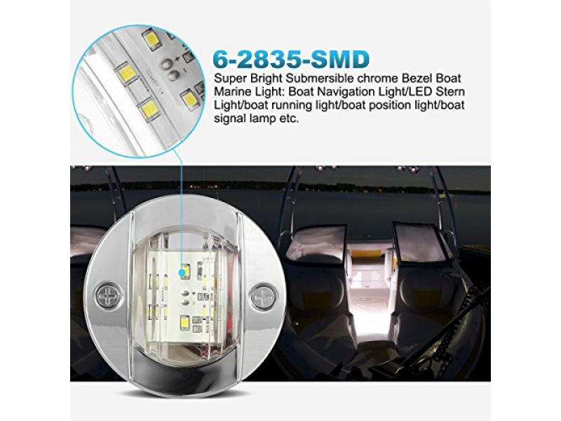 Partsam 4 Pcs 3 Inch Round Chrome Marine LED Transom Mount Stern Anchor Navigation Light IP67 Waterproof, Round Boat Marine Lights 6-2835-SMD, Boat LED Stern Lights 12V DC