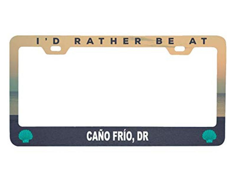 R and R Imports Caño Frío Dominican Republic Sea Shell Design Souvenir Metal License Plate Frame