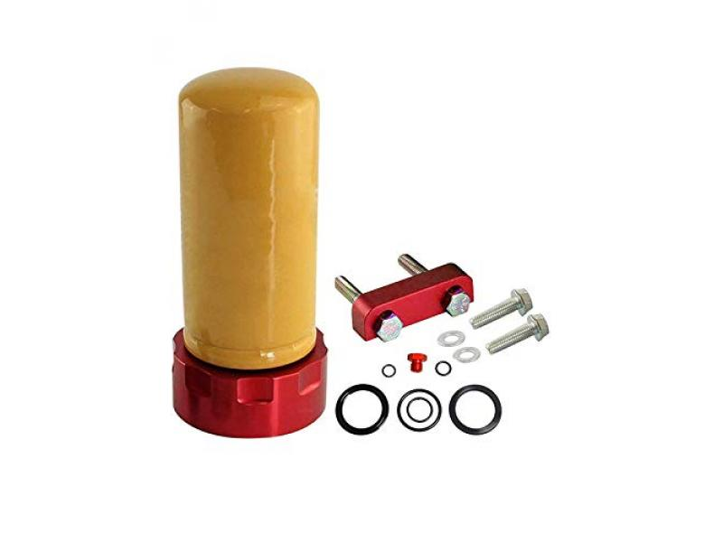 Red Fuel Filter Adapter Spacer Plate Bolts Bleeder Seal Viton O-rings Kit