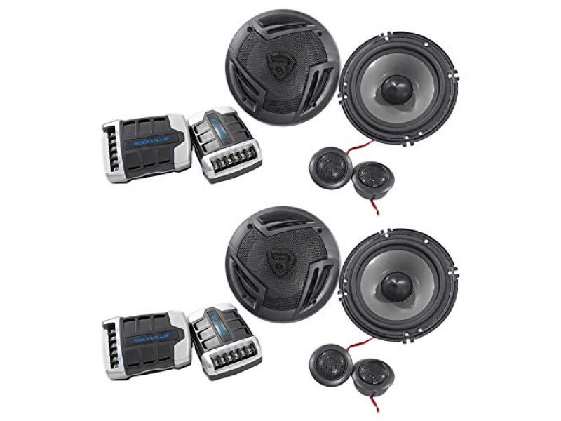 (2) Pairs Rockville RV65.2C 6.5 Component Speakers 1500w/280w