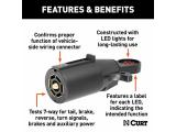 CURT 58271 7-Pin RV Blade Trailer Wiring Towing Vehicle Socket Tester Photo 2