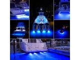 EEEKit 27 LED Underwater Pontoon Transom Lights, Marine Boat LED Navigation Lights, Stainless Steel Underwater Lights for Boat, IP68 Waterproof & Blue Light Photo 5