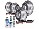 Detroit Axle - 4WD 331mm Front & Rear Drilled Slotted Rotors + Brake Pads
